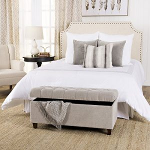 HomePop Ainsley Linen Button Tufted Storage Bench