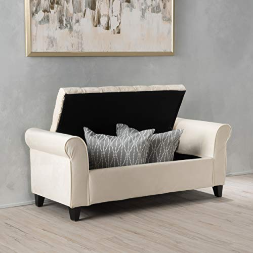 Christopher Knight Home Living Berggren Ivory New Velvet Armed Storage Bench