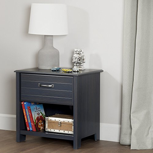 South Shore Ulysses 1-Drawer Nightstand with Open Storage, Blueberry
