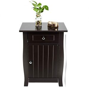 Bonnlo Nightstand Bedside End Side Table with Drawer & Roomy Storage Cabinet, 24.5-inch Tall, Brown