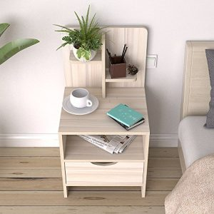 sogesfurniture Bedside Table with Drawer and Shelf Storage Nightstand Table Side Table end Table,Maple BHUS-CT2-1-MP