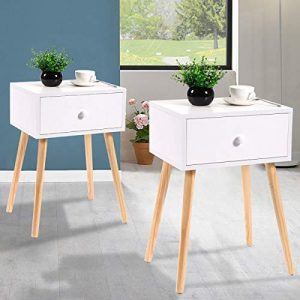 JAXPETY Set of 2 Bedside Table Solid Wood Legs Nightstand w/White Storage