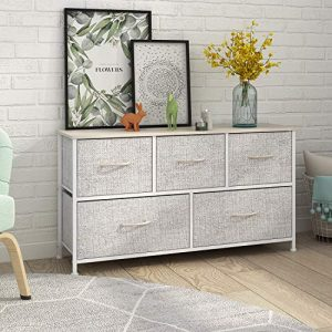 Dresser with 5 Drawers, Extra Wide Dresser Storage Tower, Storage Organizer Unit