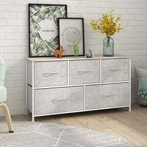 Dresser with 5 Drawers, Extra Wide Dresser Storage Tower, Storage Organizer Unit