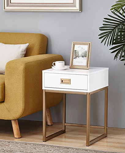 White/Golden Finish Modern Nightstand Side End Table with Drawer