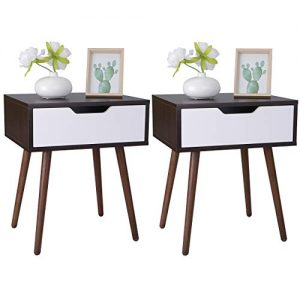 SUPER DEAL Wooden Side End Table with Drawer - Mid-Century Nightstand with Sliding Drawer and Smiley Handle for Small Space, Living Room, Bedroom (Set of 2)
