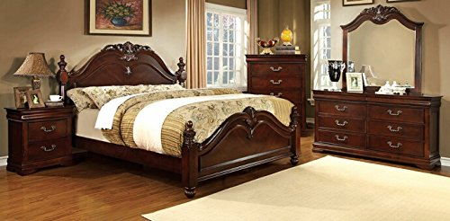 5 pc Mandura collection luxurious English style cherry Finish Wood Queen Bedroom