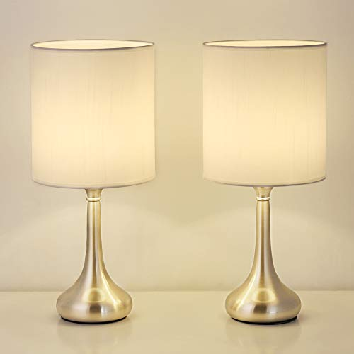 Table Lamps Bedside Lamps Set of 2 with Metal Base and White Fabric Shade Nightstand Lamps Household for Bedroom & Office