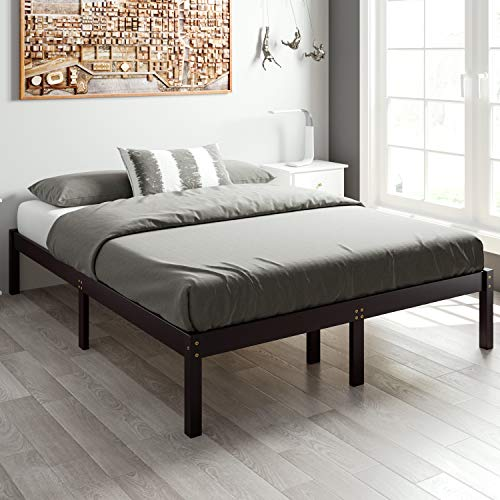 HOMECHO 14 Inch Wood Platform Bed Frame Mattress Foundation with Wooden Slats Support, 660 lbs Heavy Duty, No Box Spring Needed, Dark Brown, Full, HMC-SW-001