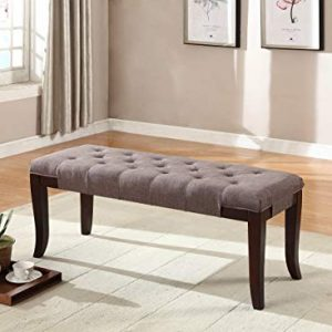 Roundhill Furniture Linon Fabric Tufted Ottoman Bench, Brown