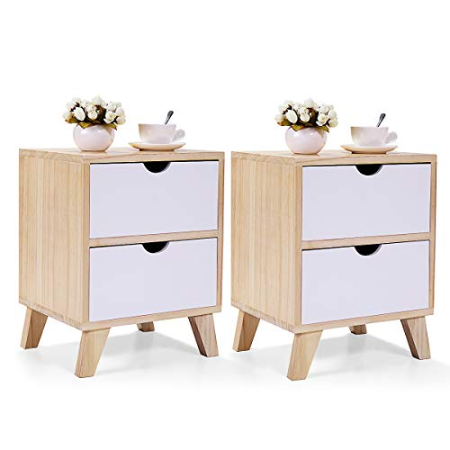 """JAXSUNNY 2 Drawers Nightstand Solid Wood Mid Century Modern End Table Bedside Table for Bedroom Set of 2,14"""" L x 12"""" W x 18"""" H,White and Walnut"""