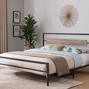 Kings Brand Furniture - Verona Pewter Metal/Gray Wood Bed