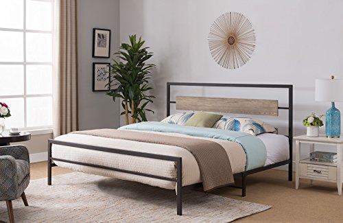 Kings Brand Furniture - Verona Pewter Metal/Gray Wood Bed