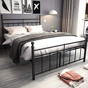 Metal Bed Frame Full Size with black ball Headboard and Footboard