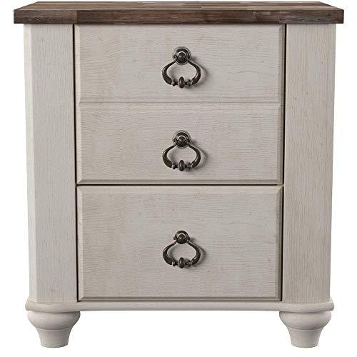Ashley Furniture Signature Design - Willowton Nightstand - Rustic Farmhouse Style - White Wash