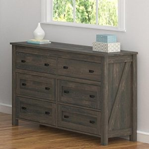 Ameriwood Home Farmington, 6 Drawer Dresser, Weathered Oak