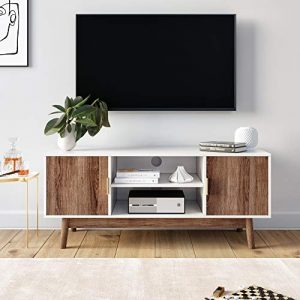 Nathan James Wesley Scandinavian TV Stand Media Console with Wooden Frame and Cabinet Doors, White/Rustic Oak