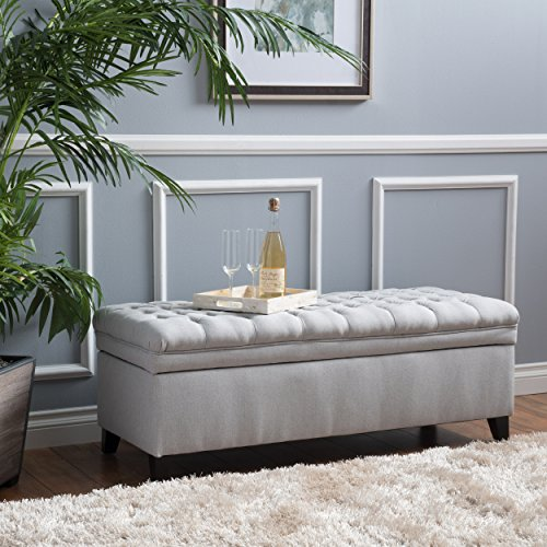 Christopher Knight Home Laguna Tufted Fabric Storage Ottoman, Light Grey
