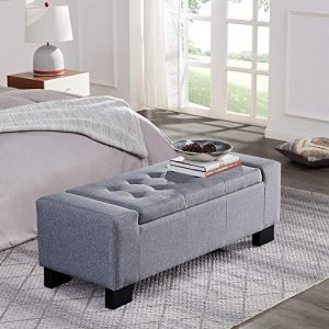 "BELLEZE 48"" Rectangular Fabric Tufted Storage Ottoman Bench"