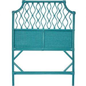 Boho Style Teal Blue Wicker Twin Size Headboard. Shabby Chic Rattan