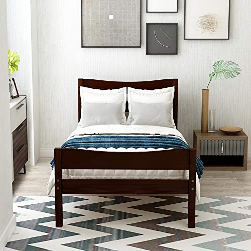 Merax Wood Platform Bed Frame with Headboard/No Box Spring Needed/Wooden