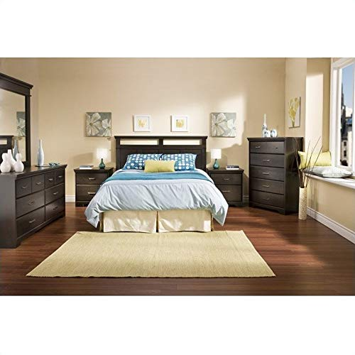 South Shore Versa Wood Panel Headboard 4 Piece Bedroom Set in Black Ebony