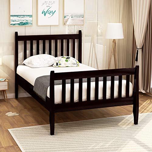 Twin Bed, Rockjame Premium Platform Bed Frame Mattress Foundation