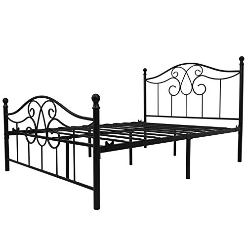 YERPERFO Vintage Sturdy Metal Bed Frame Full Size with Vintage Headboard and Footboard Platform Base Bed Frame No Box Spring Needed Steel Bed,Black,Full.