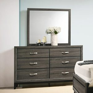 Roundhill Furniture Stout Metal Bar Pulls Dresser and Mirror