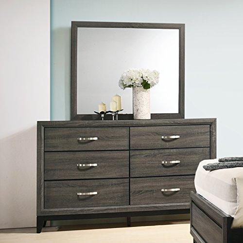 Roundhill Furniture Stout Metal Bar Pulls Dresser and Mirror