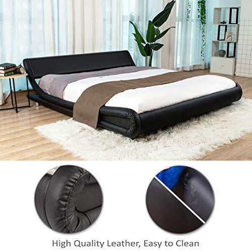 Urest Queen Size Bed Frame Deluxe Solid Modern Platform Bed with Adjustable Headboard,Faux Leather Bed Frame with Wood Slat Support,Black