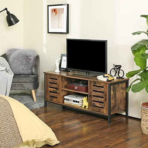 VASAGLE Lowell TV Stand, Industrial TV Console Unit with Shelves, Cabinet with Storage, Louvered Doors, for Living Room, Entertainment Room, Rustic Brown ULTV43BX