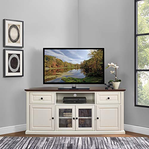 """Crosley Furniture Shelby 60"""" Corner TV Stand, White with Mahogany Top"""