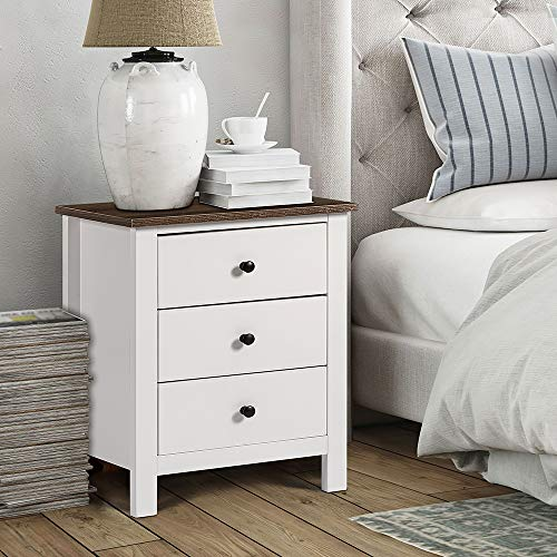 ChooChoo End Table Bedroom, Wooden Bedside Table 3-Drawer Nightstand