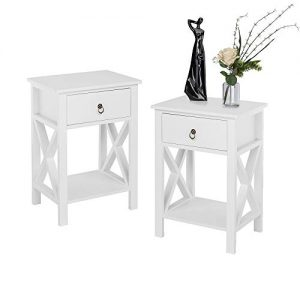 Bonnlo Set of 2 End Table Side Table Nightstand with Drawer and Shelf