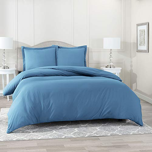 "Nestl Bedding Duvet Cover 3 Piece Set - Ultra Soft Double Brushed Microfiber Hotel Collection - Comforter Cover with Button Closure and 2 Pillow Shams, Blue Heaven - Full (Double) 80""x90"""