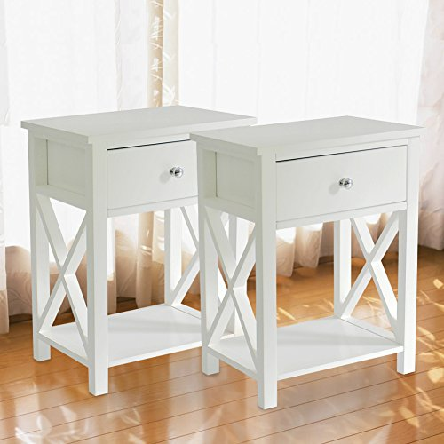 MAGIC UNION Wooden X-Design Modern Side End Table Storage Shelf with Bin Drawer White Night Stand Sets of 2
