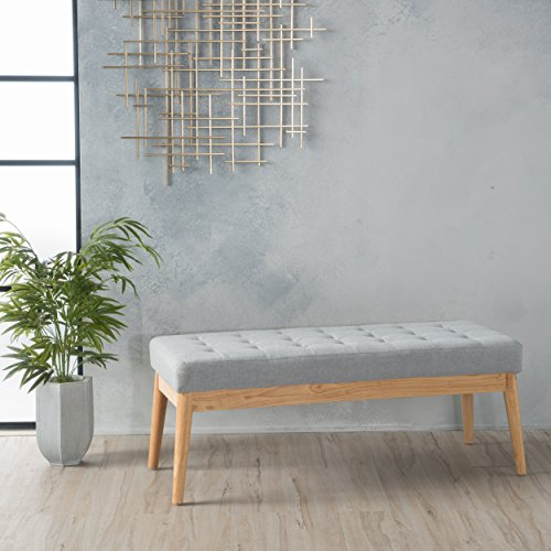 """Christopher Knight Home Living Anglo Light Grey Fabric Bench, 15.75"""" D x 43.50"""" W x 17.00"""" H"""