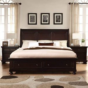 Roundhill Furniture Brishland Storage Bed Room Set, King, Rustic Cherry