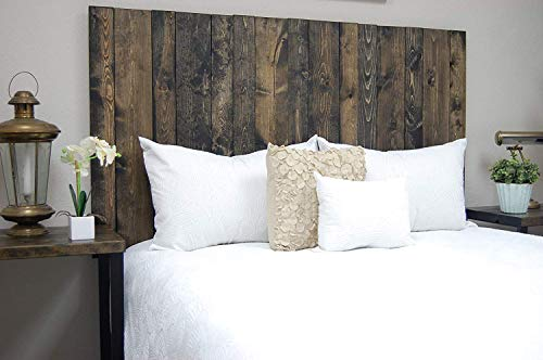 Ebony Headboard King Size Stain, Hanger Style, Handcrafted. Mounts on Wall. Easy Installation