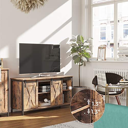 TV Stand with Sliding Barn Doors, TV Cabinet and Console with Adjustable Shelves VASAGLE TV Stand with Sliding Barn Doors, TV Cabinet and Console with Adjustable Shelves, for TVs up to 65 Inches, Industrial Design, Rustic Brown ULTV45BX