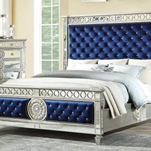 ACME Varian Queen Bed - - Blue Velvet & Mirrored