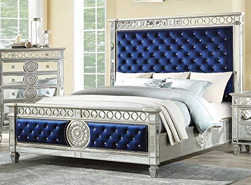 ACME Varian Queen Bed - - Blue Velvet & Mirrored
