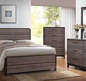 Kings Brand - 6-Piece Antique Grey Wood Queen Size Bedroom Set. Bed, Dresser, Mirror, Chest & 2 Night Stands