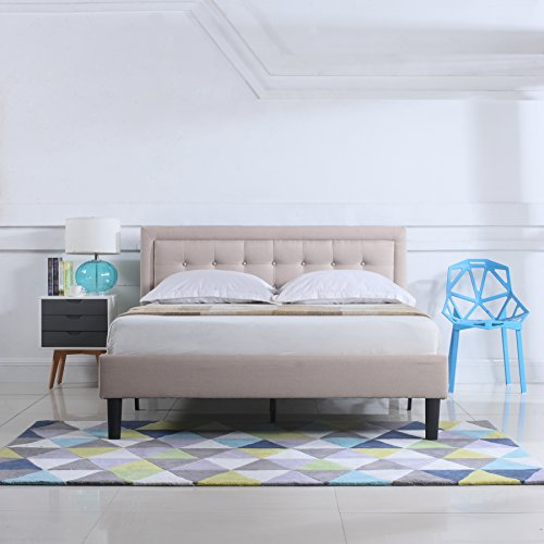 Divano Roma Furniture Classic Deluxe Linen Low Profile Platform Bed Frame with Nailhead Trim Headboard Design (Full, Ivory)