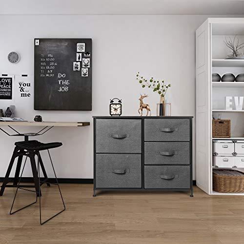 5 Drawer Dresser Organizer Fabric Storage Chest for Bedroom, Hallway