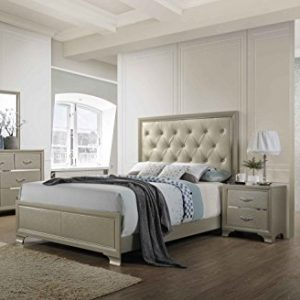 Kings Brand Furniture - 6-Piece Champagne Finish with Upholstered Headboard Queen Size Bedroom Set. Bed, Dresser, Mirror, Chest & 2 Night Stands