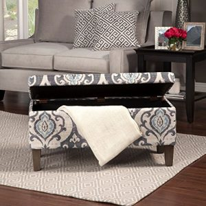 HomePop Large Upholstered Rectangular Storage Ottoman Bench