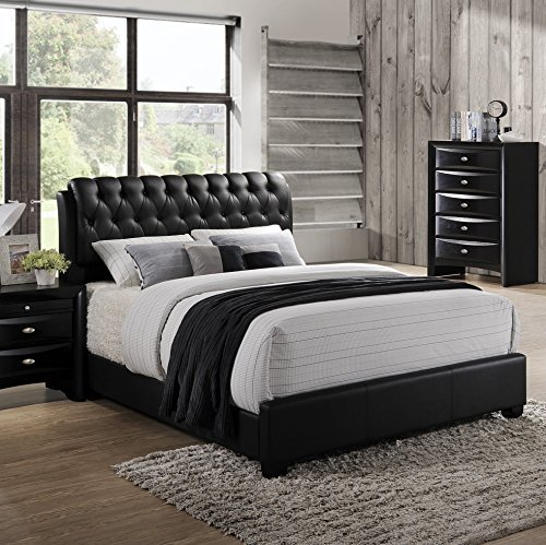 Roundhill Furniture Blemerey Wood Bonded Leather Bed, King, Black