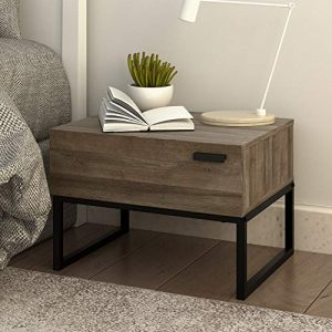 WLIVE 1 Drawer Nightstand, Wood Accent Table with Steel Frame